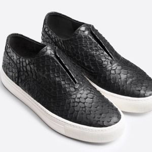 Vince Nelson Python Leather Slip-on Sneakers